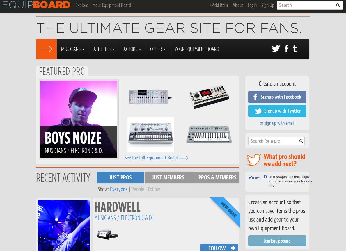 「あのミュージシャンはどこの機材を使っているのか?」が分かるサイト、Equipboard.com